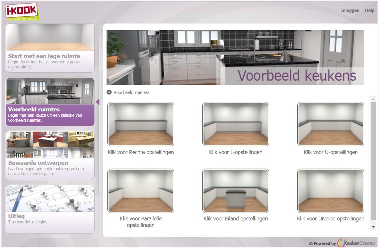 I-KOOK keukenontwerpprogramma begin scherm