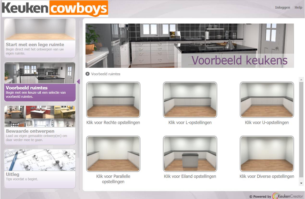 Keukencowboys beginscherm keukenontwerpprogramma